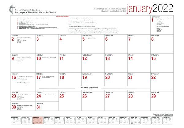 United Methodist Calendar 2022.Official United Methodist Program Calendar 2022 Cokesbury
