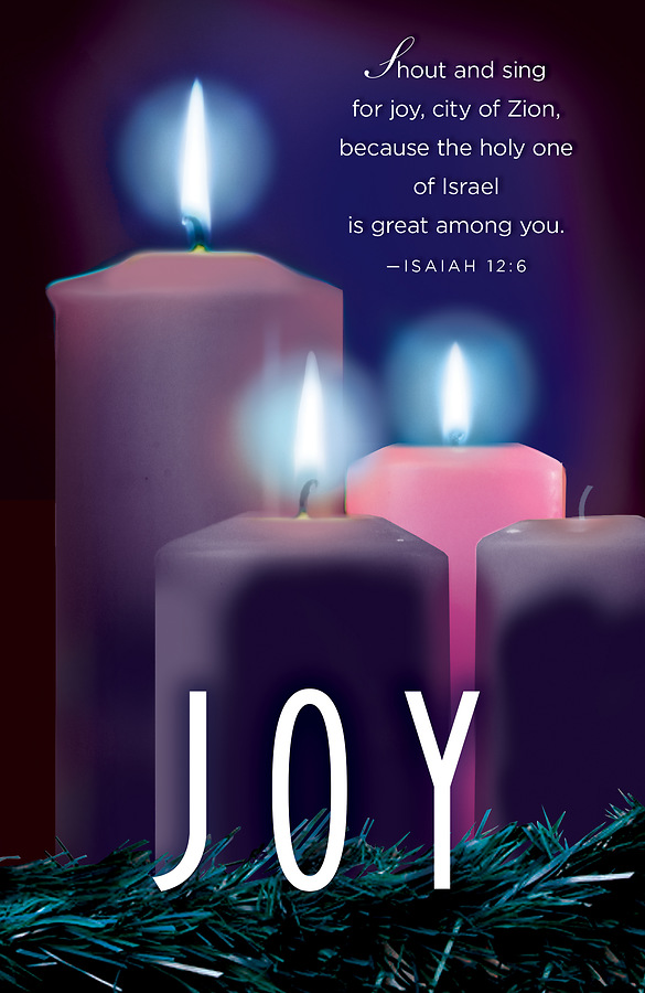 joy advent candle sunday 3 bulletin pkg of 50 cokesbury. Black Bedroom Furniture Sets. Home Design Ideas