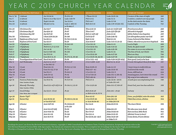 photo about Liturgical Year Calendar Printable titled Church Yr Calendar 2019, Yr C