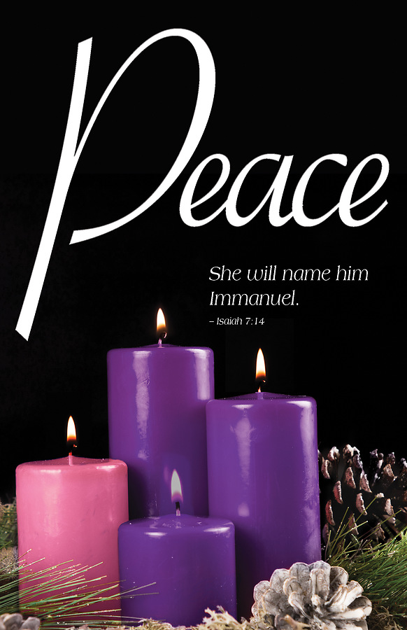 peace advent candle sunday 4 bulletin pkg of 50 cokesbury. Black Bedroom Furniture Sets. Home Design Ideas