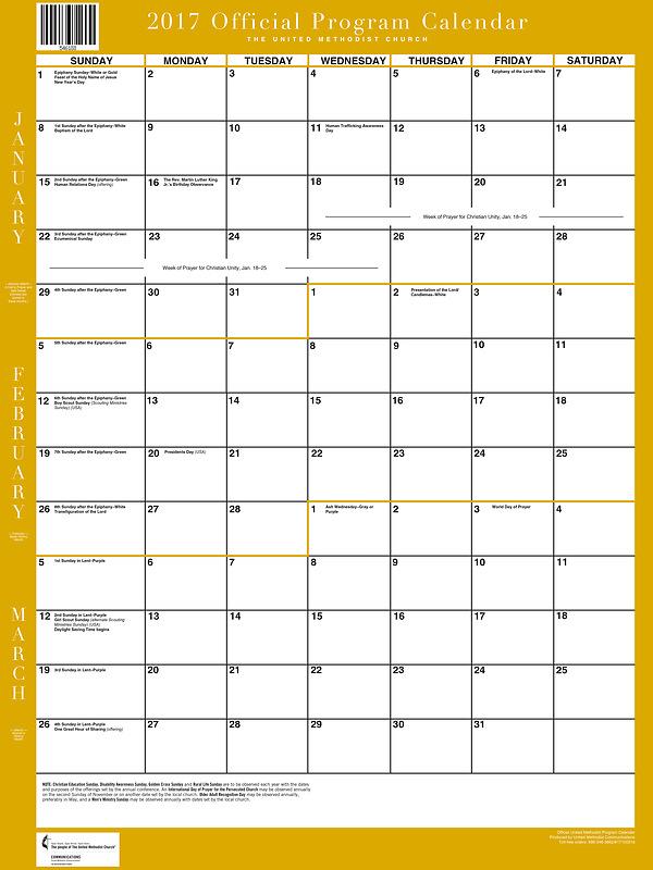 "... United Methodist Program Calendar 2017 Wall (18"" X 24"") | Cokesbury"