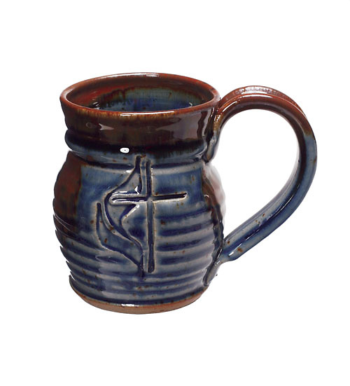 Cross And Flame Blue Ceramic Mug Cokesbury