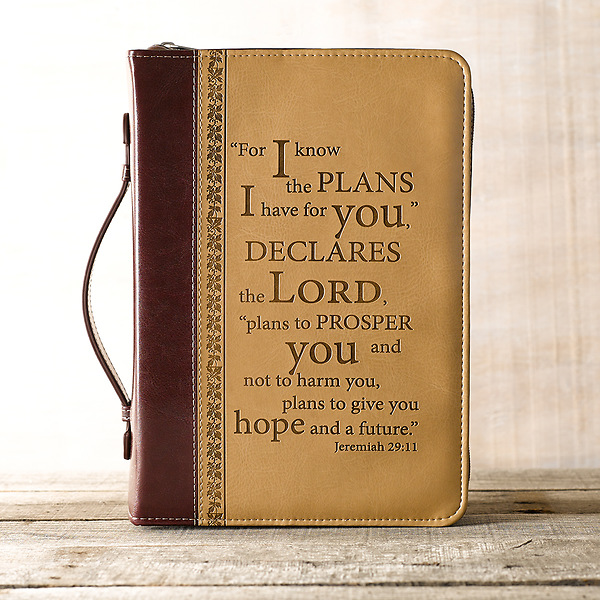 Vintage Leather Look Jeremiah Verse Bible Book Cover Large: I Know The Plans LuxLeather Large Two-Tone Bible Cover