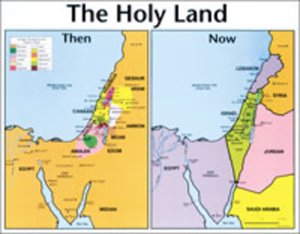 Holy Land Map Holy Land: Then and Now Bible Map®   Wall Map   Laminated | Cokesbury