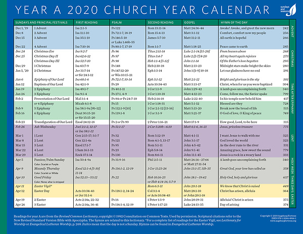 Liturgical Colors Calendar 2020 Church Year Calendar 2020, Year A | Cokesbury