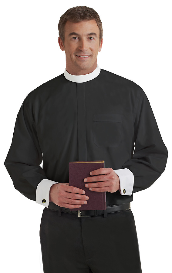 Neckband long sleeve mens clergy shirt black white french for Mens white french cuff shirt