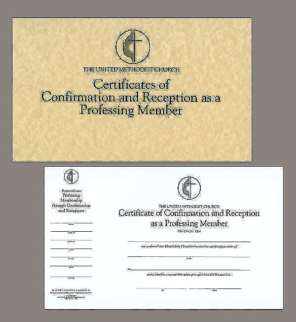 Picture Of The United Methodist Church Certificates Confirmation And Reception As A Professing Member