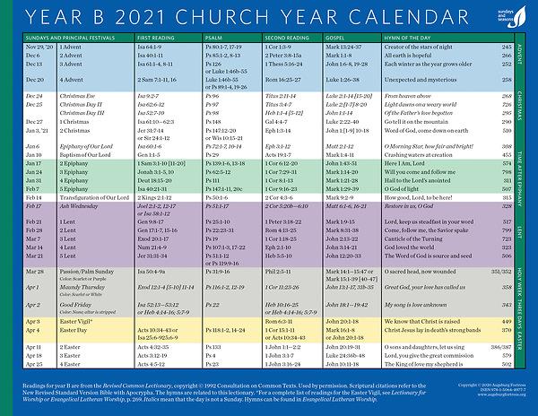 Liturgical Calendar 2021 Church Year Calendar 2021, Year B | Cokesbury