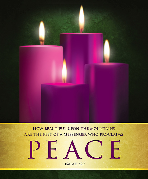 peace advent candles sunday 4 bulletin large pkg of 50. Black Bedroom Furniture Sets. Home Design Ideas