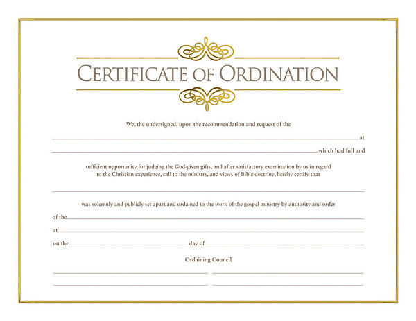 Certificate Of Ordination For Minister Cokesbury
