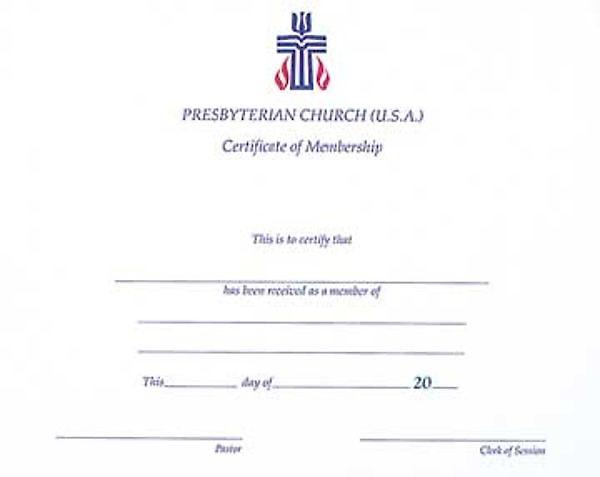 Picture Of Presbyterian Church Membership Certificate