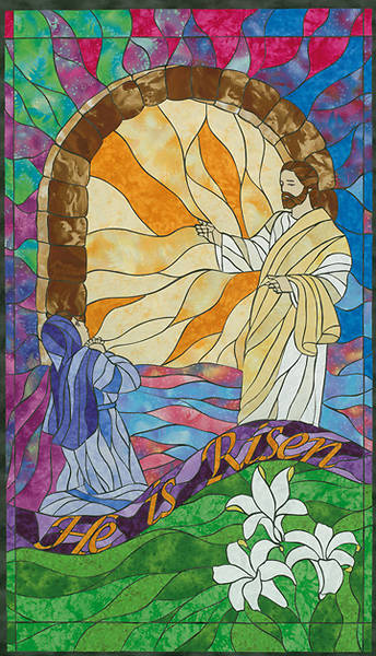Stained Glass He is Risen Banner
