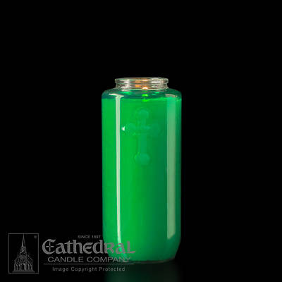 Cathedral 5-Day Glass Offering Candle - Green