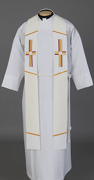 """Picture of Trinity Cross Stole White - 110"""""""