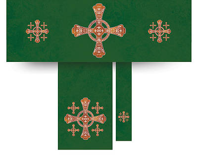 Jerusalem Cross Economy Altar Set Green