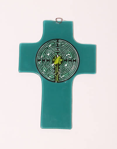 Picture of Stain Glass Labyrinth Cross Green