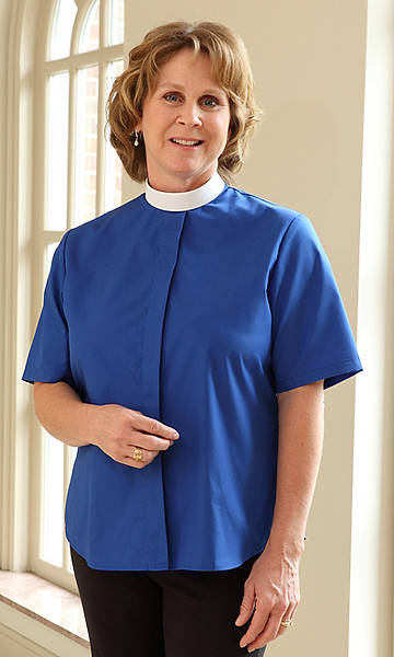 Basic Short Sleeve Clergy Blouse with Neckband Collar