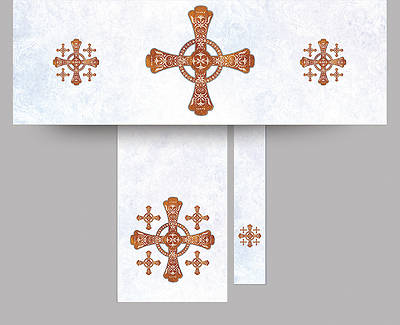 Jerusalem Cross Economy Altar Set White