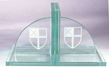 Bookends Episcopal Shield Jade Glass (pair)