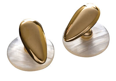 Pear Shaped Short Gold Short Shank Collar Studs