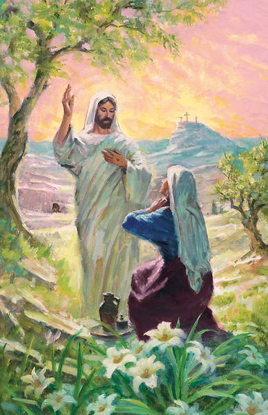 """Jesus and Mary at Tomb""  Easter Bulletin"