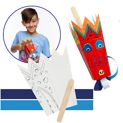 Picture of Vacation Bible School (VBS) 2020 Knights of North Castle Paper Dragon Puppet Kit (Pkg of 12)