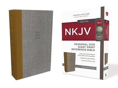 NKJV, Reference Bible, Personal Size Giant Print, Cloth Over Board, Tan/Gray, Red Letter Edition, Comfort Print