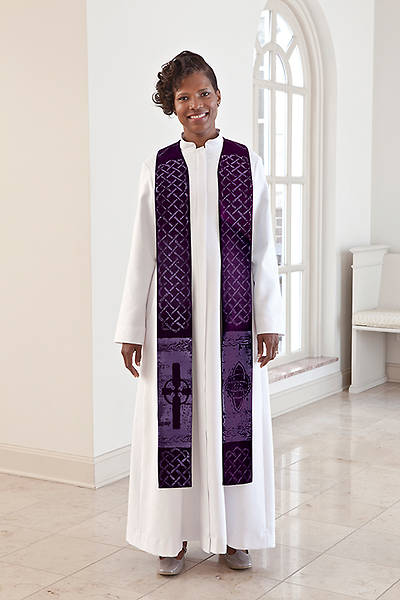 Picture of Celtic Pastor Stole Purple - Average/Tall 104""