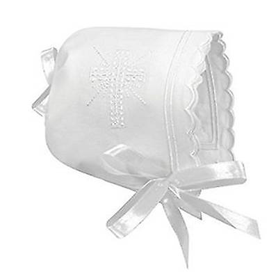 Picture of Bonnet-Baby Keepsake Cross and Scallop Edge White