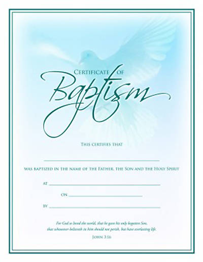 Picture of Certificate of Baptism Package of 6