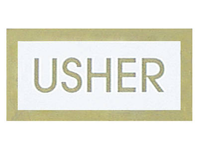 White and Gold Usher Pin-On Badge - Pack of 24