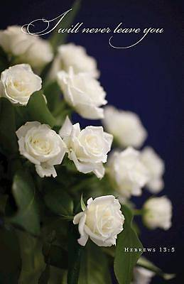 White Roses Funeral Bulletin (Pkg of 50)