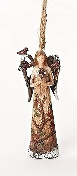 Angel and Cardinal Ornament - with Birdhouse