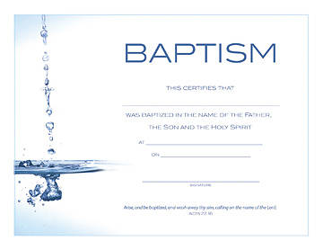 Picture of Foil-Embossed Water Image Baptism Flat Certificate (Package of 6)