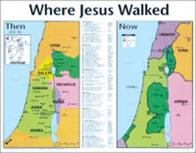 Picture of Where Jesus Walked: Then And Now® Maps - Wall Chart - Laminated