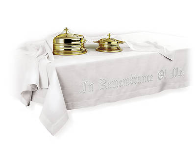 IN REMEMBRANCE OF ME COMM TABLE COVER 100% LINEN