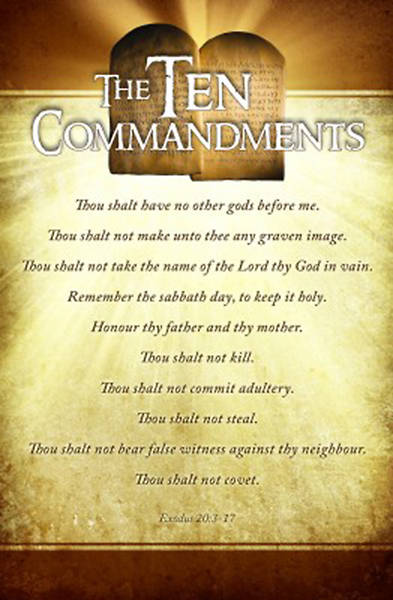 Ten Commandments Bulletin Regular Size Package of 100