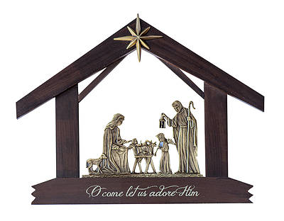 Picture of Holy Family Wood and Brass Finish Nativity - Gift Boxed