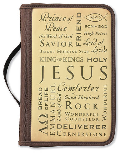 Inspiration Names of Jesus Canvas Large Brown Book & Bible Cover