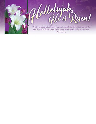 Picture of Hallelujah He is Risen! Easter Letterhead (Pkg of 100)