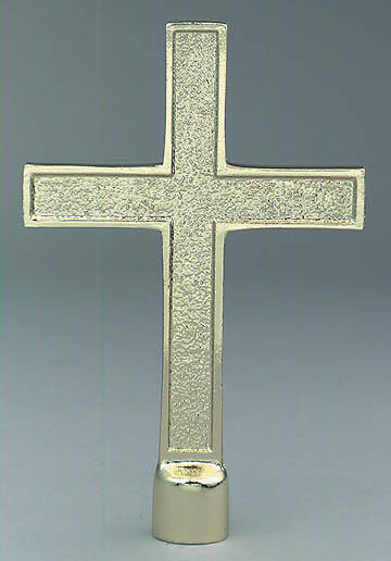 "Gold Aluminum Cross 7 1/2"" x 5"" With Ferrule"