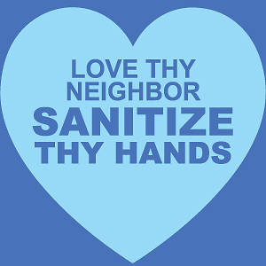 "Picture of Hand Sanitizing Station (Love Thy Neighbor) 15.5""x15.5"" Wall Decal Sign - 2 Pack"