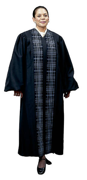 Pulpit Robe with Clergy Tartan Panels Blue Black and Navy