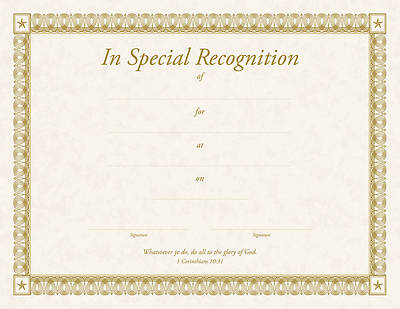Certificate of Recognition I Corinthians 10:31 (Package of 6)