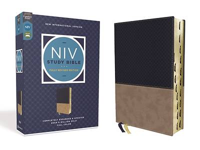 Picture of NIV Study Bible, Fully Revised Edition, Leathersoft, Navy/Tan, Red Letter, Thumb Indexed, Comfort Print
