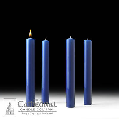 """Picture of Cathedral 51% Beeswax Advent Candle Set 12"""" X 1-1/2"""" - 4 Sarum Blue"""