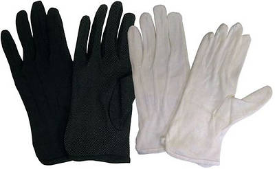 Cotton Performance With Plastic Dots Handbell Gloves - White, Medium