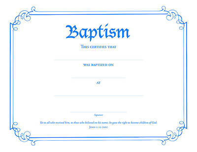 Certificate of Baptism Blue Foil Embossed (Package of 6)
