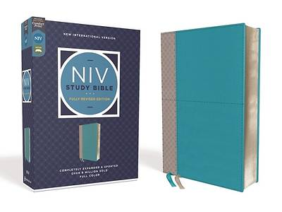 Picture of NIV Study Bible, Fully Revised Edition, Leathersoft, Teal/Gray, Red Letter, Comfort Print