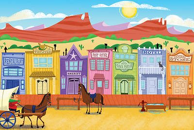 Gospel Light Vacation Bible School 2013 SonWest RoundUp Western Town Wall Mural 3 piece set